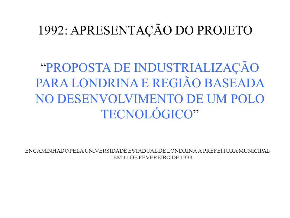 1992: APRESENTAÇÃO DO PROJETO PROPOSTA DE INDUSTRIALIZAÇÃO PARA LONDRINA E REGIÃO BASEADA NO DESENVOLVIMENTO DE UM POLO TECNOLÓGICO ENCAMINHADO PELA UNIVERSIDADE ESTADUAL DE LONDRINA À PREFEITURA MUNICIPAL EM 11 DE FEVEREIRO DE 1993