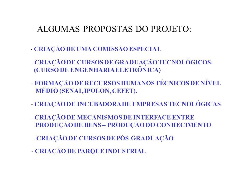 ALGUMAS PROPOSTAS DO PROJETO: - CRIAÇÃO DE UMA COMISSÃO ESPECIAL.