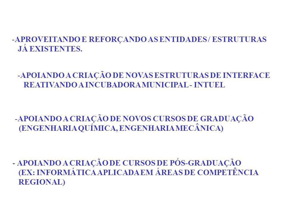 -APROVEITANDO E REFORÇANDO AS ENTIDADES / ESTRUTURAS JÁ EXISTENTES.