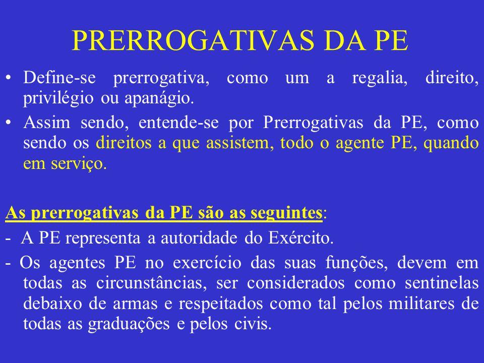 Define-se prerrogativa, como um a regalia, direito, privilégio ou apanágio. Assim sendo, entende-se por Prerrogativas da PE, como sendo os direitos a