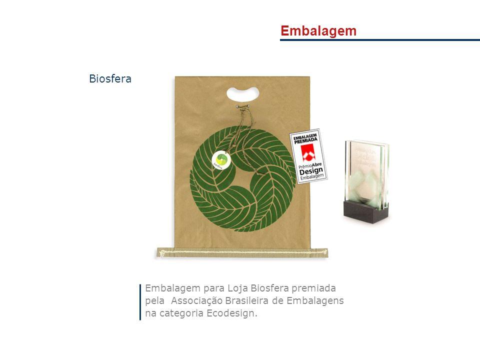 Embalagem para Loja Biosfera premiada pela Associação Brasileira de Embalagens na categoria Ecodesign. Biosfera Embalagem