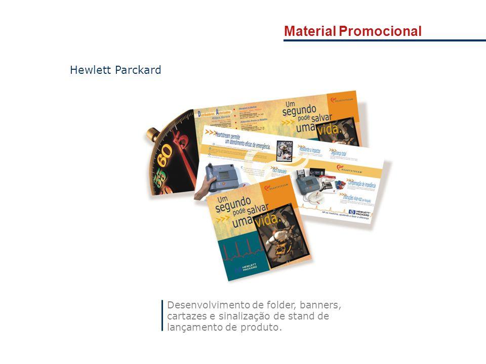 Desenvolvimento de folder, banners, cartazes e sinalização de stand de lançamento de produto. Hewlett Parckard