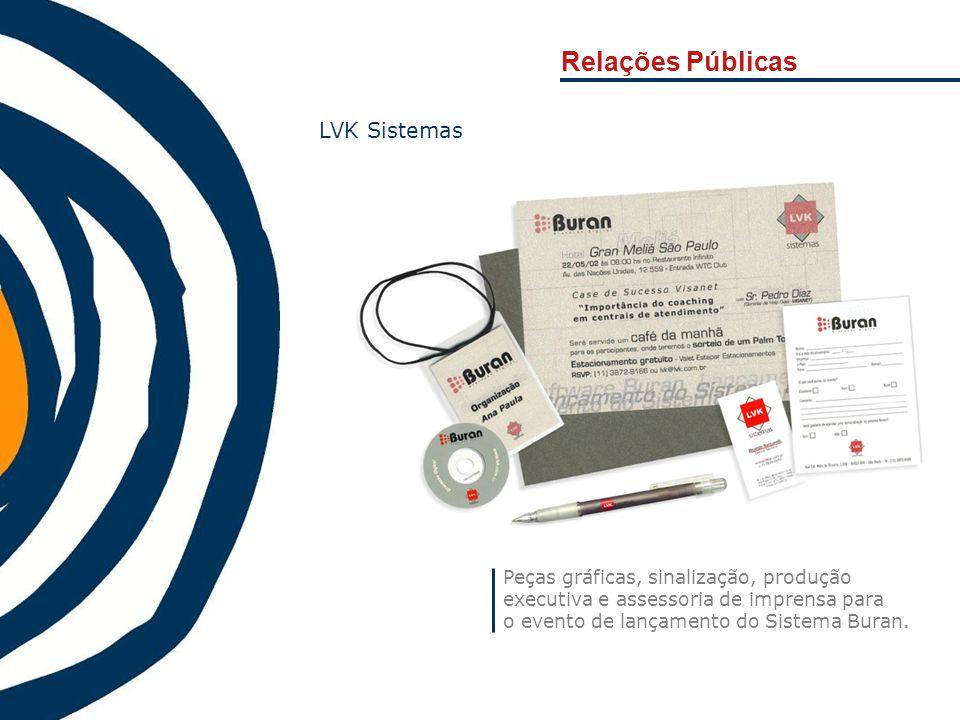 Relações Públicas Peças gráficas, sinalização, produção executiva e assessoria de imprensa para o evento de lançamento do Sistema Buran. LVK Sistemas