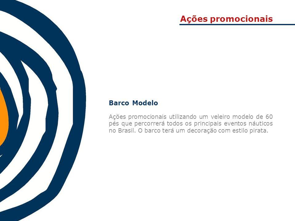 Ações promocionais Barco Modelo Ações promocionais utilizando um veleiro modelo de 60 pés que percorrerá todos os principais eventos náuticos no Brasi