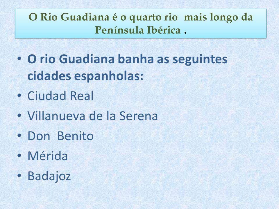 O rio Guadiana banha as seguintes cidades espanholas: Ciudad Real Villanueva de la Serena Don Benito Mérida Badajoz O Rio Guadiana é o quarto rio mais