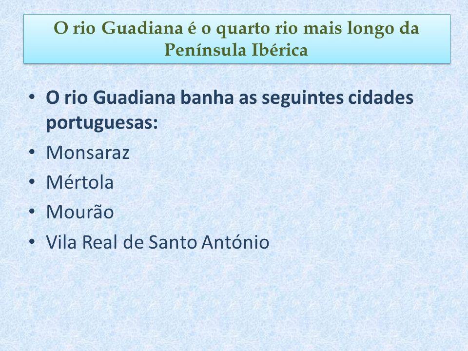 O rio Guadiana banha as seguintes cidades portuguesas: Monsaraz Mértola Mourão Vila Real de Santo António O rio Guadiana é o quarto rio mais longo da