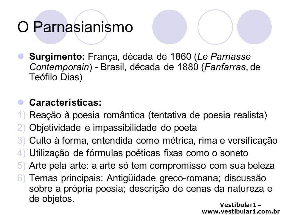 Vestibular1 – www.vestibular1.com.br Parnasianismo no Brasil · Literatura descompromissada das elites Literatura sorriso da sociedade · Ampla dominação cultural paransiana (1882-1922) que desencadeia, por oposição, a Semana de Arte Moderna.
