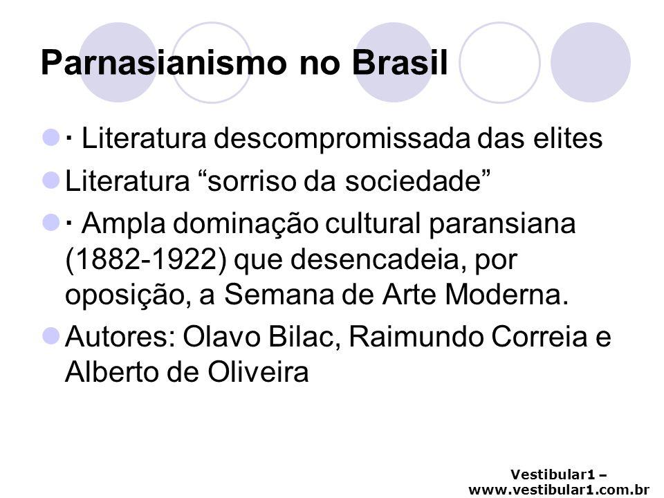 "Vestibular1 – www.vestibular1.com.br Parnasianismo no Brasil · Literatura descompromissada das elites Literatura ""sorriso da sociedade"" · Ampla domina"
