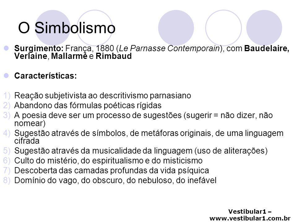 Vestibular1 – www.vestibular1.com.br O Simbolismo Surgimento: França, 1880 (Le Parnasse Contemporain), com Baudelaire, Verlaine, Mallarmé e Rimbaud Ca