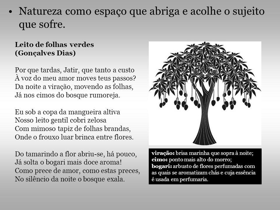 Natureza como espaço que abriga e acolhe o sujeito que sofre. Leito de folhas verdes (Gonçalves Dias) Por que tardas, Jatir, que tanto a custo À voz d