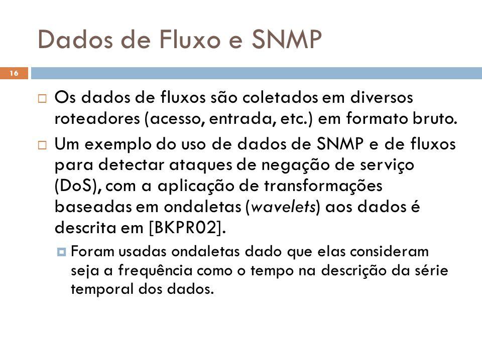 Dados de Fluxo e SNMP 16  Os dados de fluxos são coletados em diversos roteadores (acesso, entrada, etc.) em formato bruto.