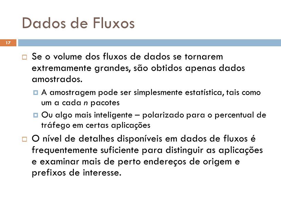 Dados de Fluxos 17  Se o volume dos fluxos de dados se tornarem extremamente grandes, são obtidos apenas dados amostrados.