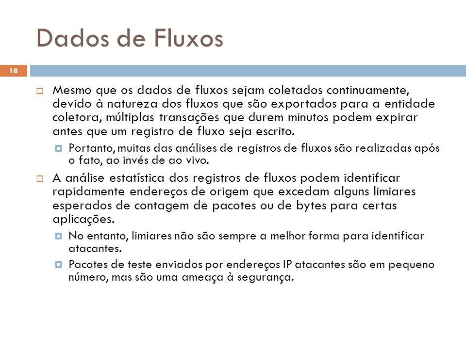 Dados de Fluxos 18  Mesmo que os dados de fluxos sejam coletados continuamente, devido à natureza dos fluxos que são exportados para a entidade coletora, múltiplas transações que durem minutos podem expirar antes que um registro de fluxo seja escrito.