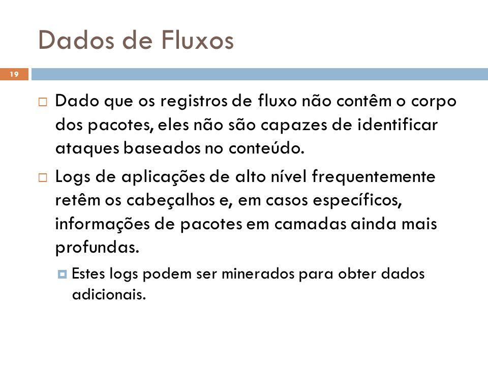Dados de Fluxos 19  Dado que os registros de fluxo não contêm o corpo dos pacotes, eles não são capazes de identificar ataques baseados no conteúdo.