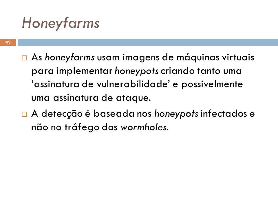 Honeyfarms 43  As honeyfarms usam imagens de máquinas virtuais para implementar honeypots criando tanto uma 'assinatura de vulnerabilidade' e possivelmente uma assinatura de ataque.