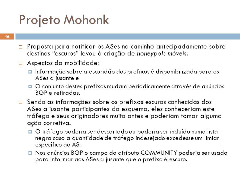 Projeto Mohonk 46  Proposta para notificar os ASes no caminho antecipadamente sobre destinos escuros levou à criação de honeypots móveis.