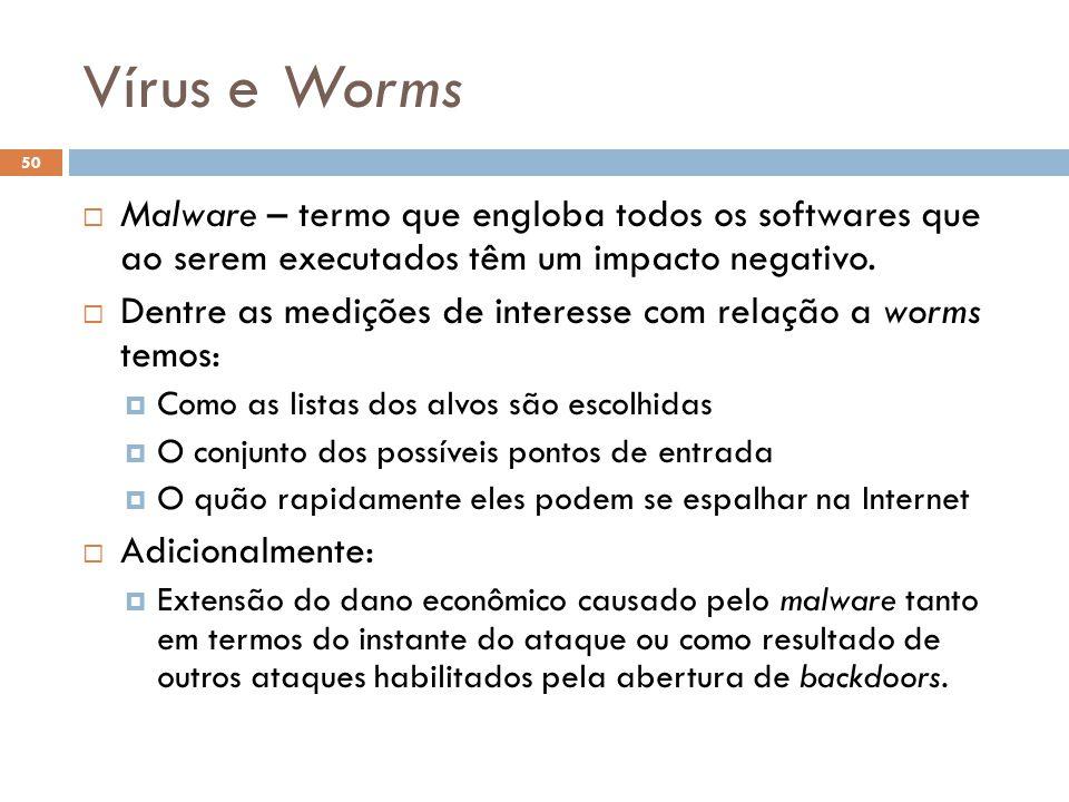 Vírus e Worms 50  Malware – termo que engloba todos os softwares que ao serem executados têm um impacto negativo.