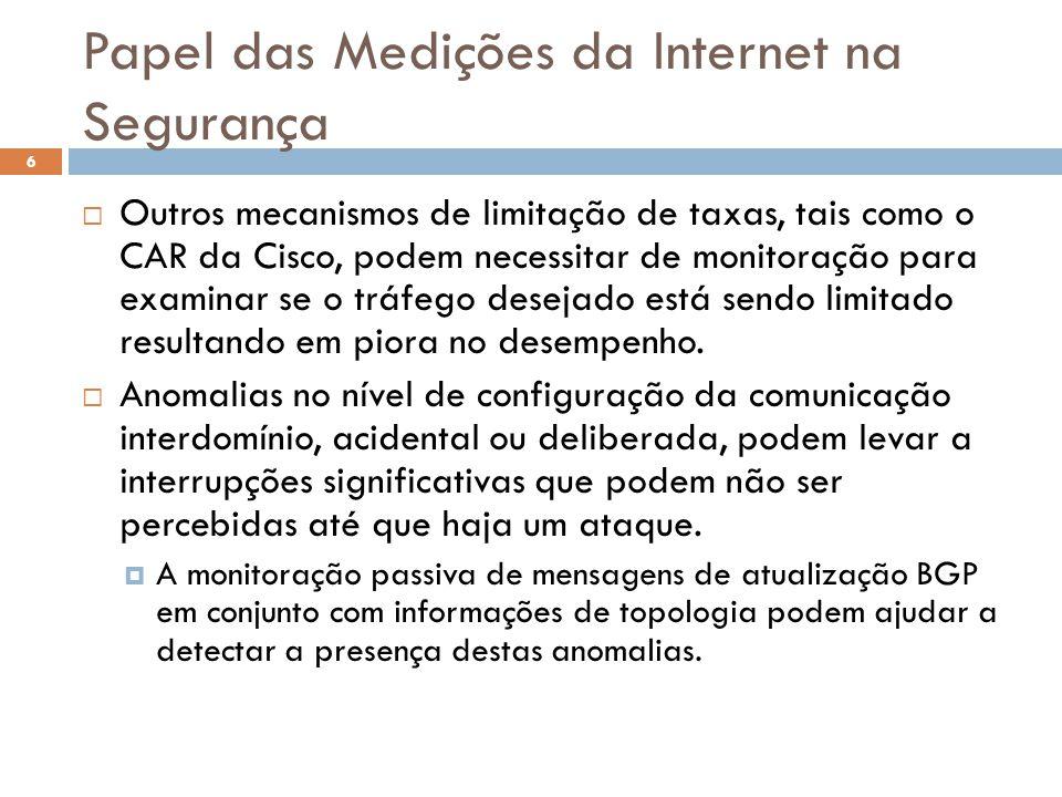 Papel das Medições da Internet na Segurança 6  Outros mecanismos de limitação de taxas, tais como o CAR da Cisco, podem necessitar de monitoração para examinar se o tráfego desejado está sendo limitado resultando em piora no desempenho.