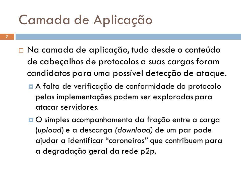 Camada de Aplicação 7  Na camada de aplicação, tudo desde o conteúdo de cabeçalhos de protocolos a suas cargas foram candidatos para uma possível detecção de ataque.