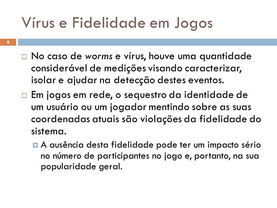 Vírus e Fidelidade em Jogos 8  No caso de worms e vírus, houve uma quantidade considerável de medições visando caracterizar, isolar e ajudar na detecção destes eventos.