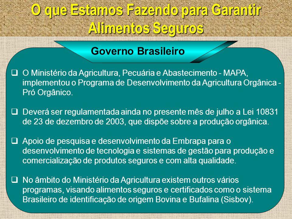 O que Estamos Fazendo para Garantir Alimentos Seguros  O Ministério da Agricultura do Brasil esta encaminhando à Presidência da República proposta de uma política governamental de alimento seguro.