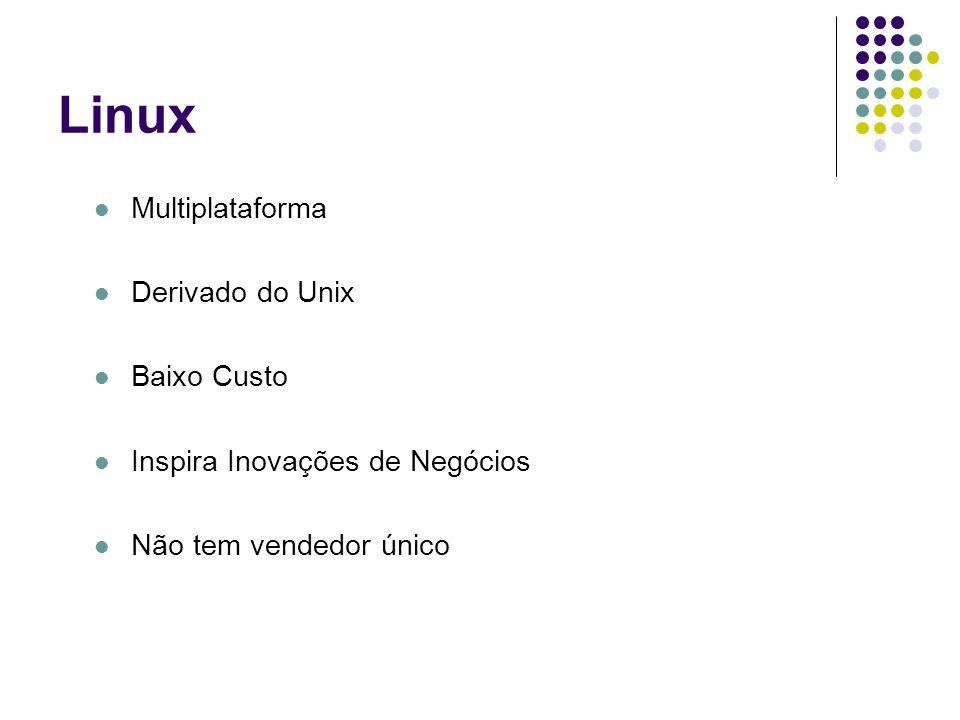 Linux Multiplataforma Derivado do Unix Baixo Custo Inspira Inovações de Negócios Não tem vendedor único