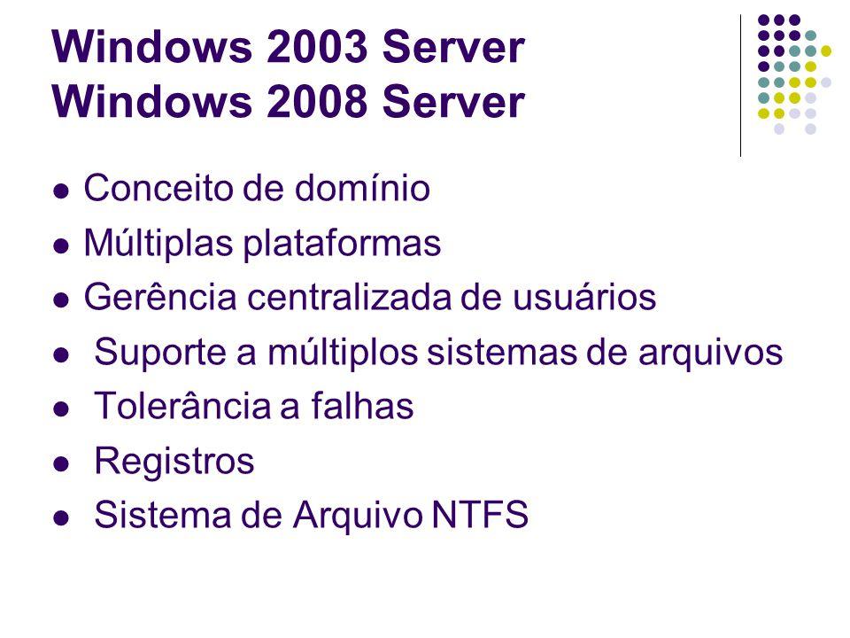 Windows 2003 Server Windows 2008 Server Conceito de domínio Múltiplas plataformas Gerência centralizada de usuários Suporte a múltiplos sistemas de ar