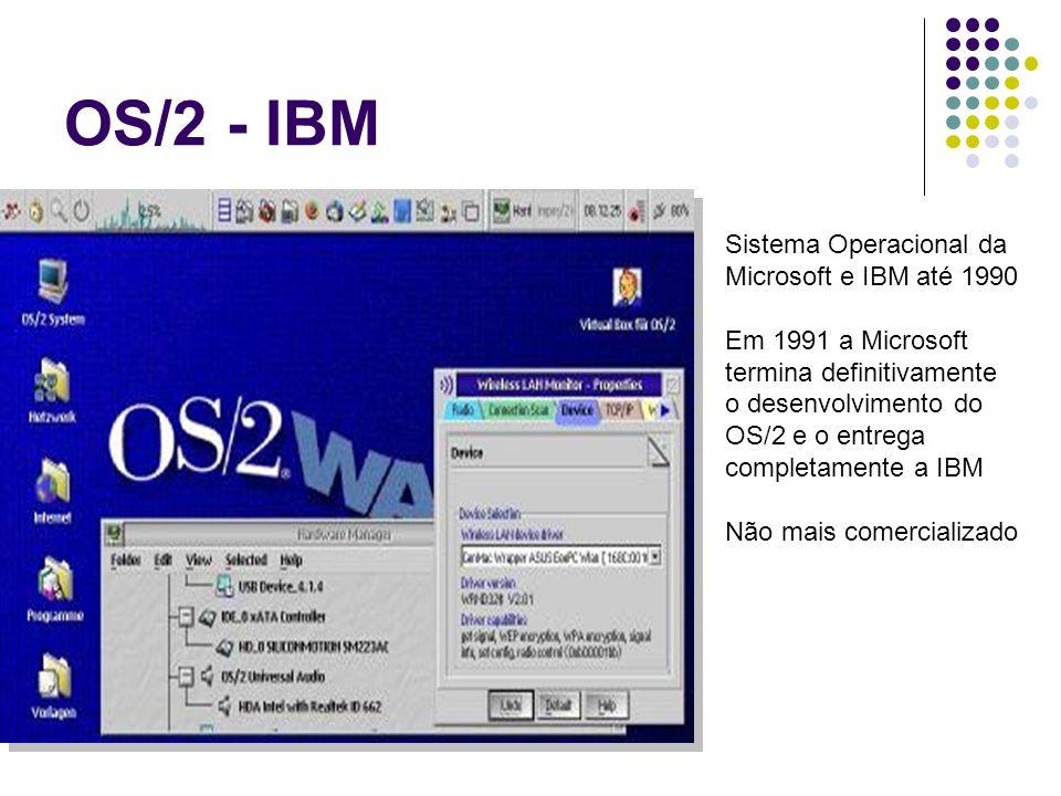 OS/2 - IBM Sistema Operacional da Microsoft e IBM até 1990 Em 1991 a Microsoft termina definitivamente o desenvolvimento do OS/2 e o entrega completam