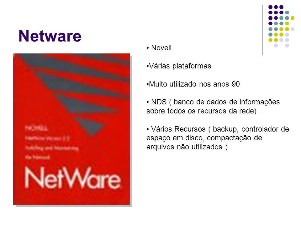 Netware Novell Várias plataformas Muito utilizado nos anos 90 NDS ( banco de dados de informações sobre todos os recursos da rede) Vários Recursos ( b