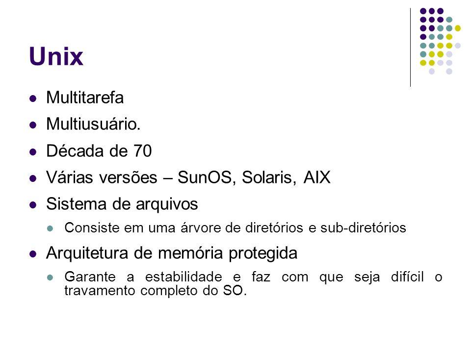 Unix Multitarefa Multiusuário. Década de 70 Várias versões – SunOS, Solaris, AIX Sistema de arquivos Consiste em uma árvore de diretórios e sub-diretó