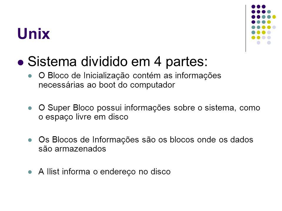 Unix Sistema dividido em 4 partes: O Bloco de Inicialização contém as informações necessárias ao boot do computador O Super Bloco possui informações s