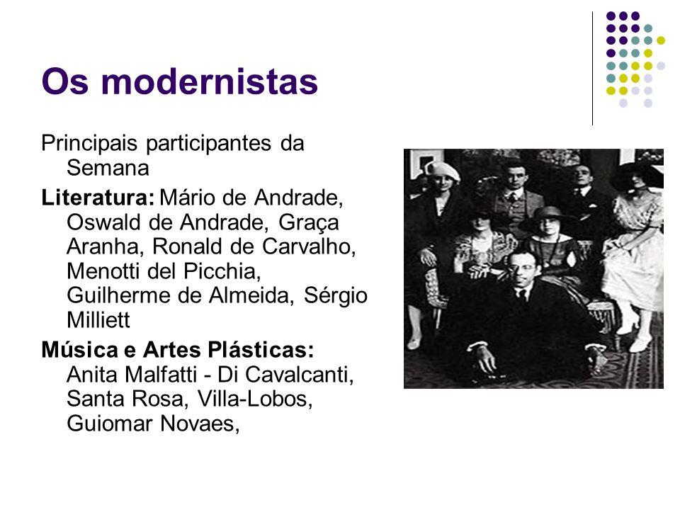 Os modernistas Principais participantes da Semana Literatura: Mário de Andrade, Oswald de Andrade, Graça Aranha, Ronald de Carvalho, Menotti del Picch
