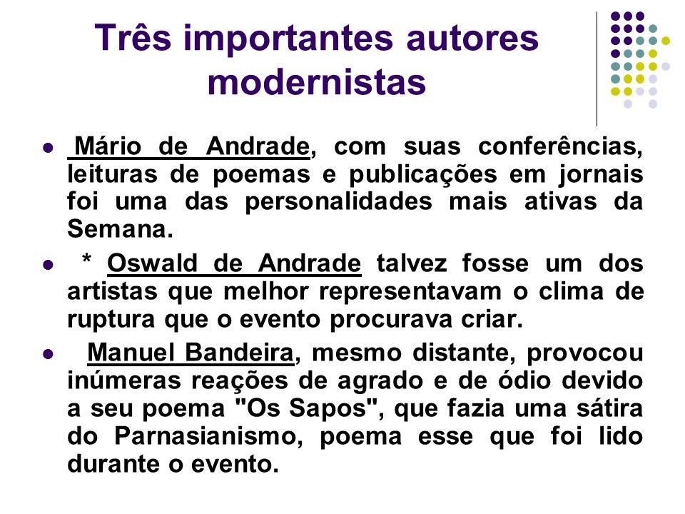 Três importantes autores modernistas Mário de Andrade, com suas conferências, leituras de poemas e publicações em jornais foi uma das personalidades m