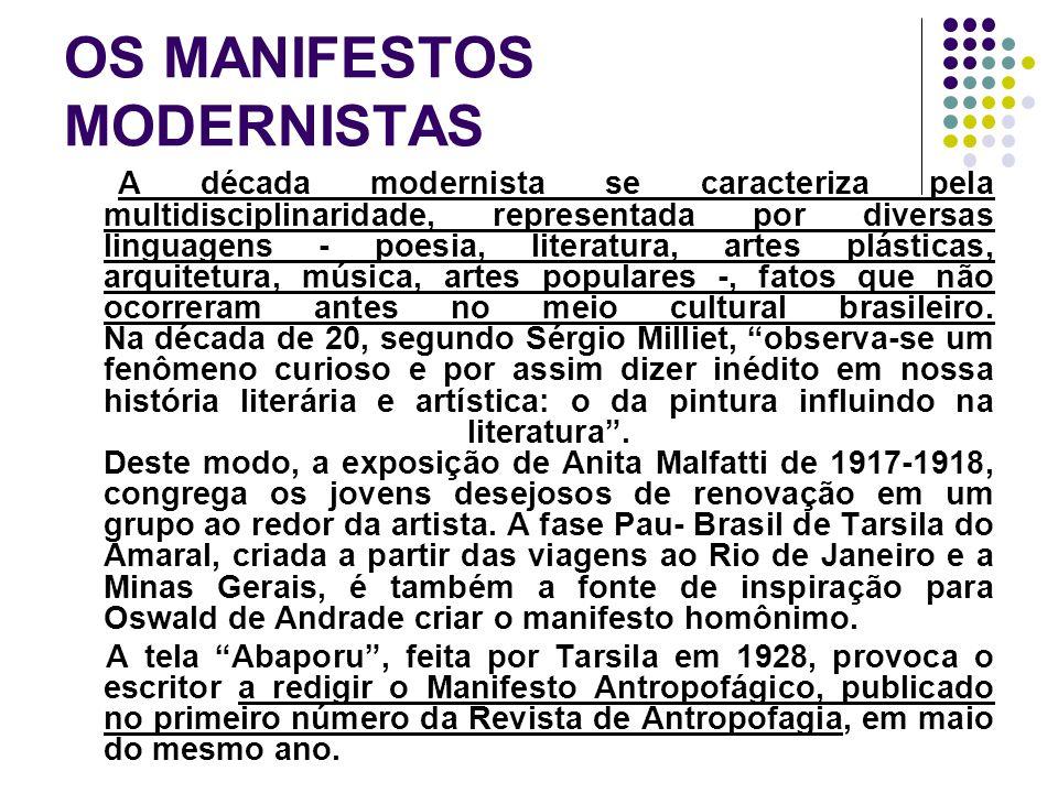 OS MANIFESTOS MODERNISTAS A década modernista se caracteriza pela multidisciplinaridade, representada por diversas linguagens - poesia, literatura, ar