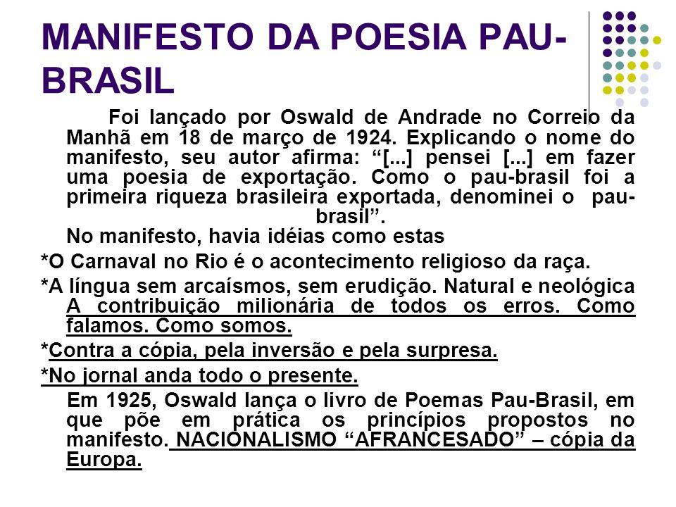 MANIFESTO DA POESIA PAU- BRASIL Foi lançado por Oswald de Andrade no Correio da Manhã em 18 de março de 1924. Explicando o nome do manifesto, seu auto