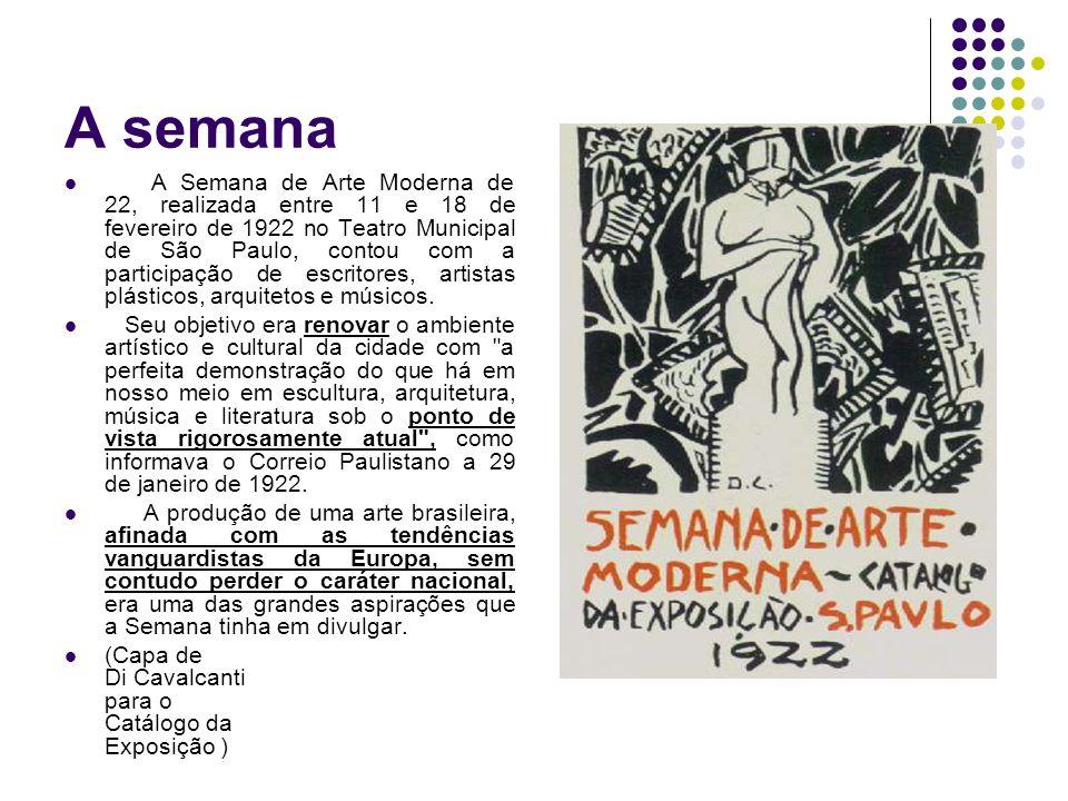 A semana A Semana de Arte Moderna de 22, realizada entre 11 e 18 de fevereiro de 1922 no Teatro Municipal de São Paulo, contou com a participação de e