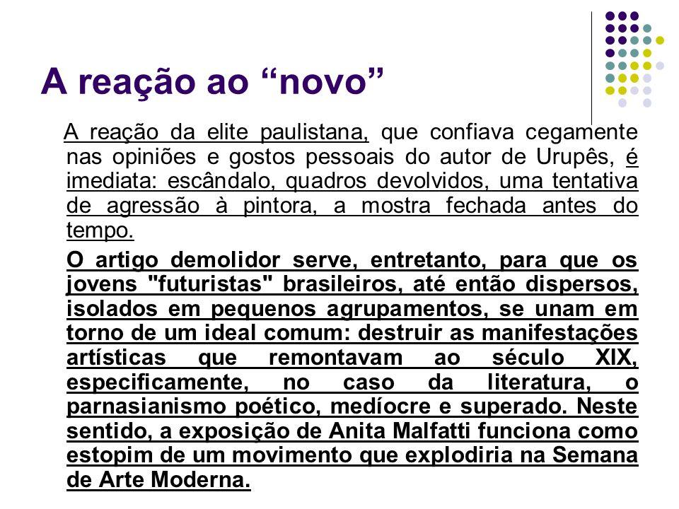"""A reação ao """"novo"""" A reação da elite paulistana, que confiava cegamente nas opiniões e gostos pessoais do autor de Urupês, é imediata: escândalo, quad"""