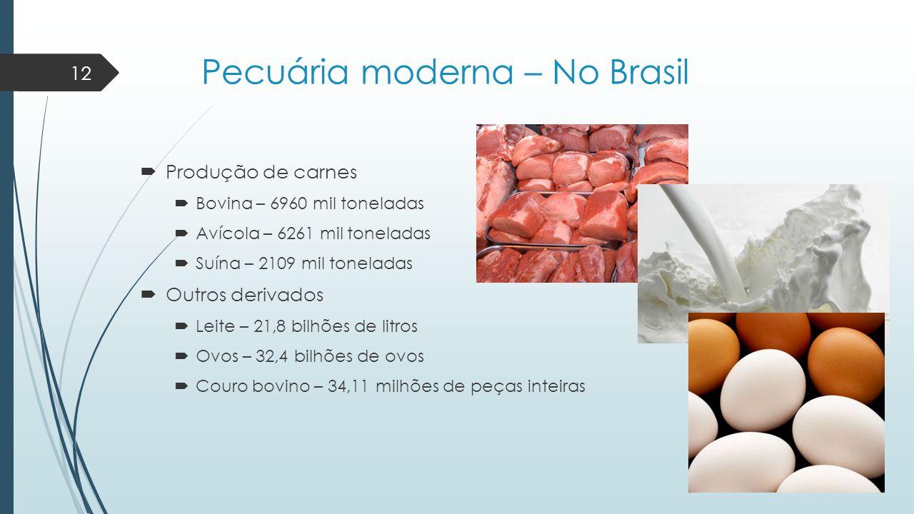Pecuária moderna – No Brasil  Produção de carnes  Bovina – 6960 mil toneladas  Avícola – 6261 mil toneladas  Suína – 2109 mil toneladas  Outros d
