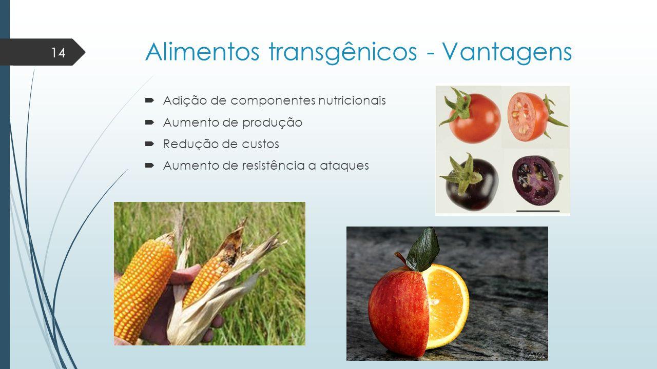 Alimentos transgênicos - Vantagens  Adição de componentes nutricionais  Aumento de produção  Redução de custos  Aumento de resistência a ataques 1