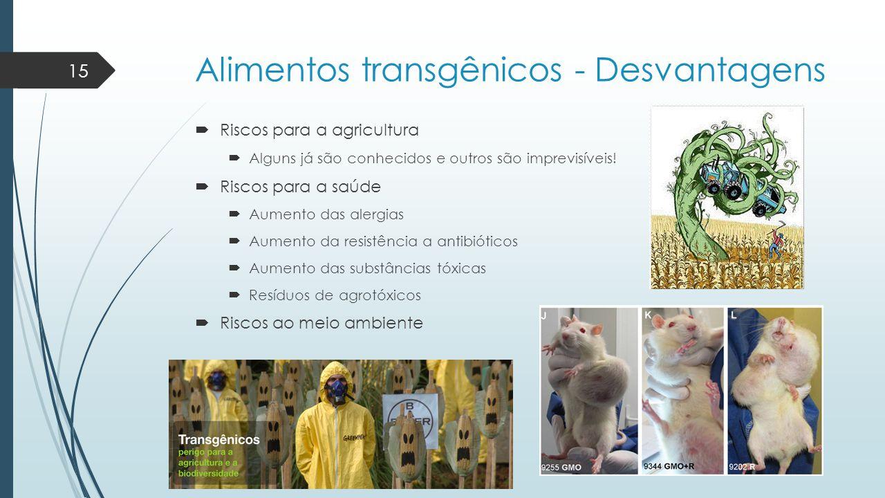 Alimentos transgênicos - Desvantagens  Riscos para a agricultura  Alguns já são conhecidos e outros são imprevisíveis!  Riscos para a saúde  Aumen
