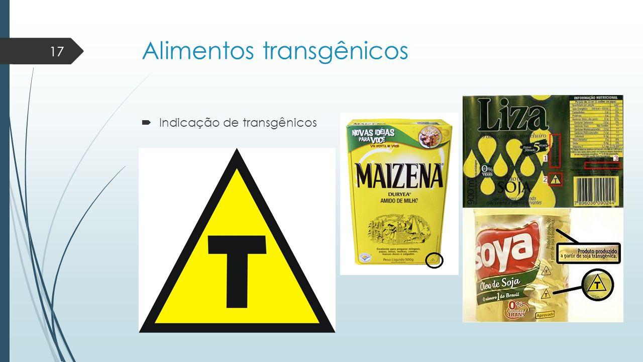 Alimentos transgênicos  Indicação de transgênicos 17