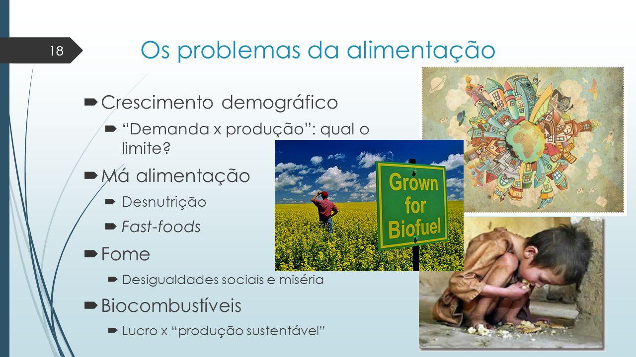 """Os problemas da alimentação  Crescimento demográfico  """"Demanda x produção"""": qual o limite?  Má alimentação  Desnutrição  Fast-foods  Fome  Desi"""
