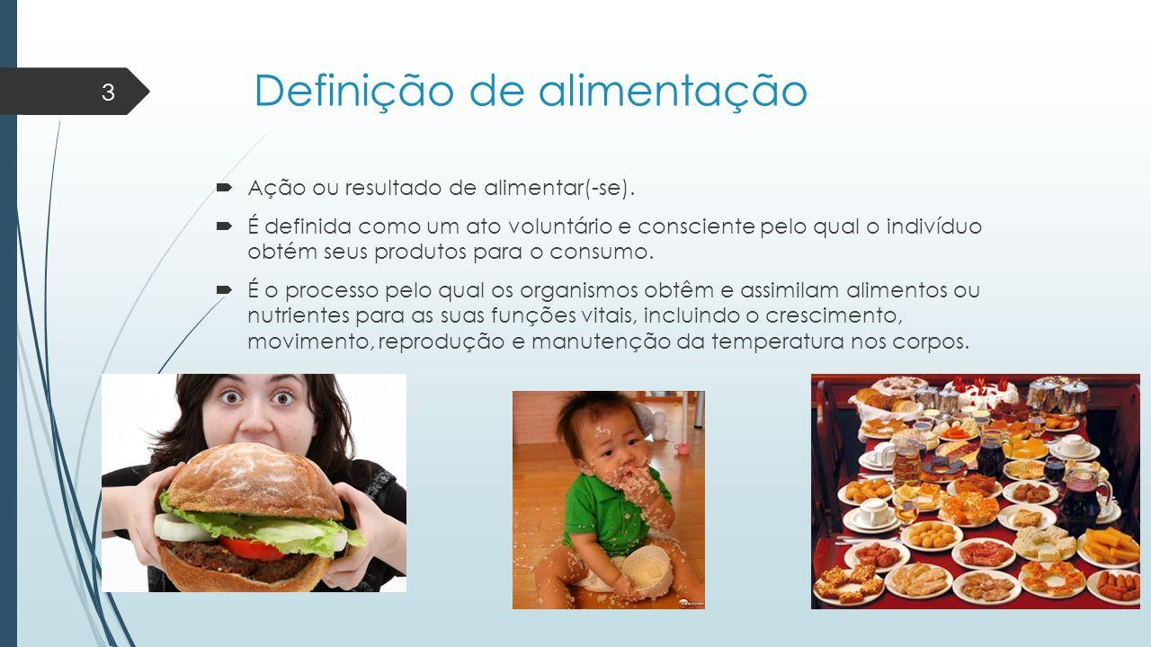 Definição de alimentação  Ação ou resultado de alimentar(-se).  É definida como um ato voluntário e consciente pelo qual o indivíduo obtém seus prod