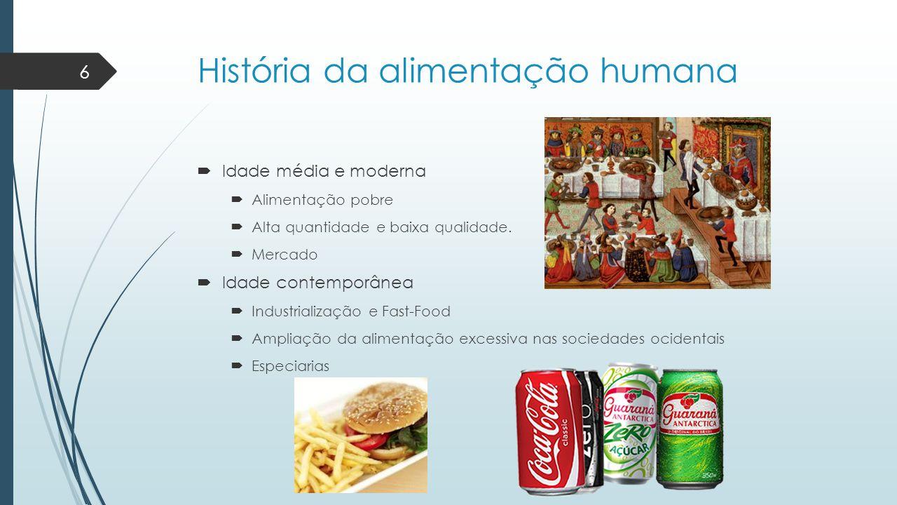História da alimentação humana  Idade média e moderna  Alimentação pobre  Alta quantidade e baixa qualidade.  Mercado  Idade contemporânea  Indu
