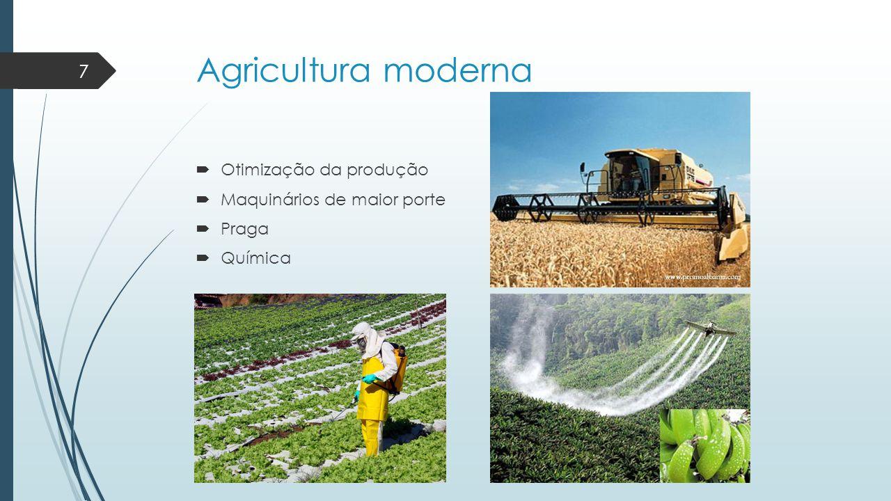 Agricultura moderna  Otimização da produção  Maquinários de maior porte  Praga  Química 7