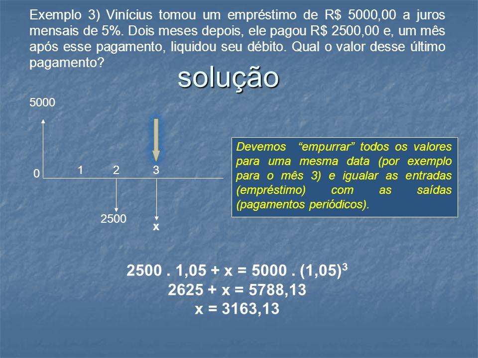 Exemplo 3) Vinícius tomou um empréstimo de R$ 5000,00 a juros mensais de 5%. Dois meses depois, ele pagou R$ 2500,00 e, um mês após esse pagamento, li