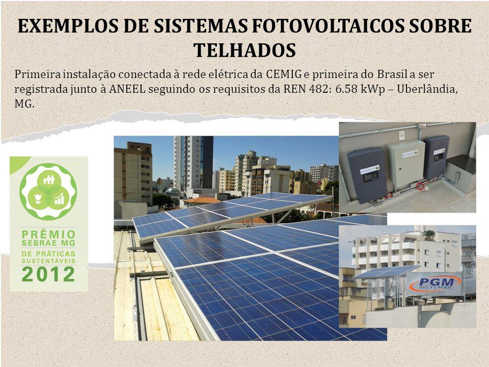 Primeira instalação conectada à rede elétrica da CEMIG e primeira do Brasil a ser registrada junto à ANEEL seguindo os requisitos da REN 482: 6.58 kWp – Uberlândia, MG.
