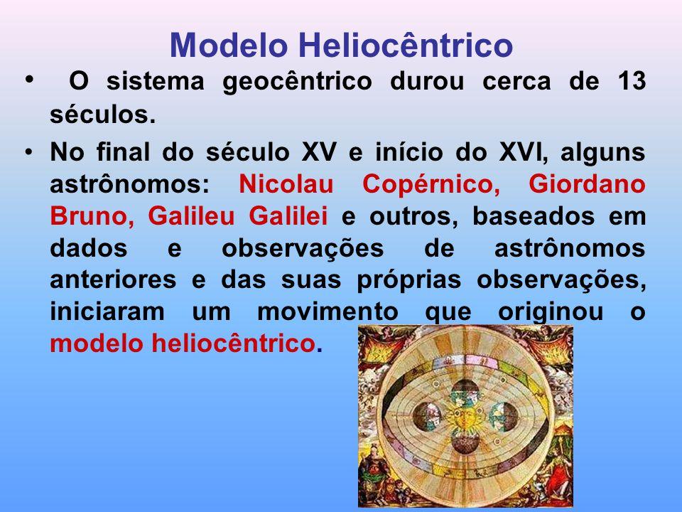 Modelo Heliocêntrico O sistema geocêntrico durou cerca de 13 séculos. No final do século XV e início do XVI, alguns astrônomos: Nicolau Copérnico, Gio