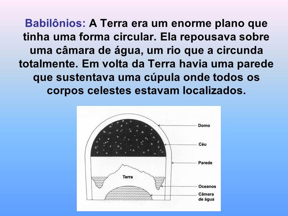 Babilônios: A Terra era um enorme plano que tinha uma forma circular.