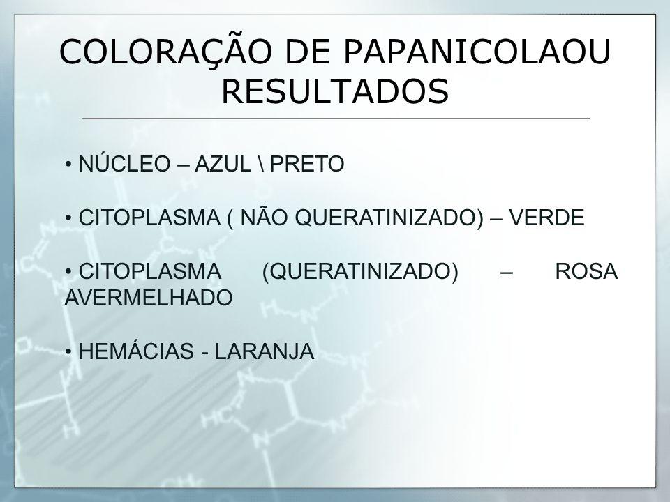 COLORAÇÃO DE PAPANICOLAOU RESULTADOS NÚCLEO – AZUL \ PRETO CITOPLASMA ( NÃO QUERATINIZADO) – VERDE CITOPLASMA (QUERATINIZADO) – ROSA AVERMELHADO HEMÁC